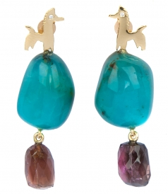 HORSE YELLOW GOLD FT TOURNALINE EARRINGS