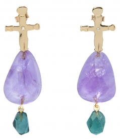 FINE JEWELRY - MOTHER AND CHILD YELLOW GOLD FT AMETHYST EARRINGS