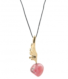FINE JEWELRY - HERMES BIG WING YELLOW GOLD FT RHODOCHROSITE PENDANT