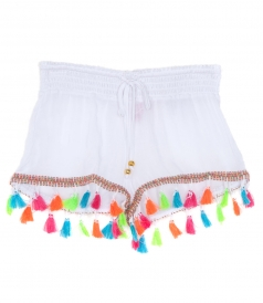 MULTICOLORED TASSEL COTTON SHORTS