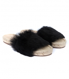 SANDALS - STRIPE ESPADRILLE FT BLACK FUR