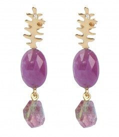 FINE JEWELRY - MATISSE LEAF YELLOW GOLD FT RUBIES EARRINGS