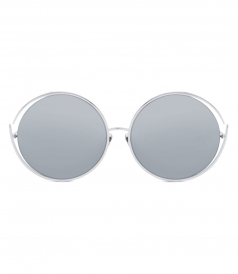 ACCESSORIES - LINDA FARROW 680 C2 WHITE GOLD ROUND SUNGLASSES