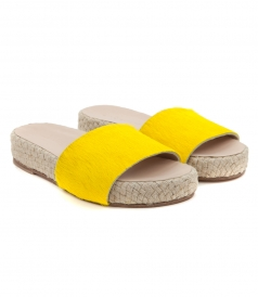 SANDALS - ARIS SLIDE STRIPE PONY IN YELLOW