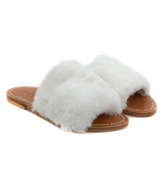 SANDALS - STRIPE FAUX FUR IN WHITE