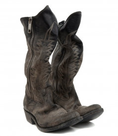 BOOTS - DISTRESSED ZIPPED WESTERN BOOTS