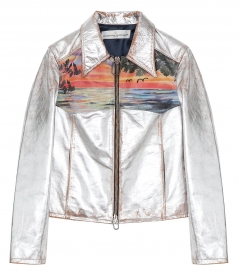 CLOTHES - MIRA SILVER LEATHER JACKET FT SUNSET PRINT
