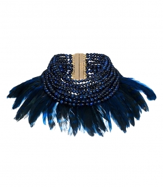 FALENA BLUE DUCK FEATHER NECKLACE