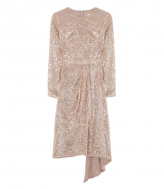 SEQUINNED LONG SLEEVE DRESS IN PINK