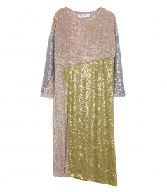 CLOTHES - SEQUINNED PATCHWORK LONG SLEEVE DRESS