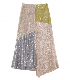 PATCHWORK SEQUINNED SKIRT