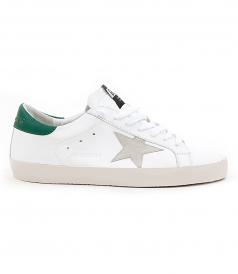 SHOES - SUPERSTAR SNEAKERS IN WHITE FT EMERALD GREEN DETAILING