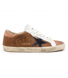 SHOES - SUPERSTAR SNEAKERS IN BROWN FT DENIM STAR PATCH