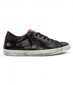 SHOES - SUPESTAR SNEAKERS IN BRUSHED BLACK FT BROWN DETAILING