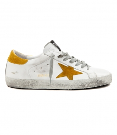SUPERSTAR SNEAKERS IN WHITE FT YELLOW SUEDE DETAILING