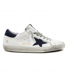 SUPERSTAR SNEAKERS IN WHITE FT NAVY BLUE SUEDE DETAILING