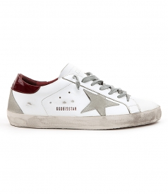 SUPERSTAR SNEAKERS IN WHITE FT CHERRY RED HEEL COUNTER