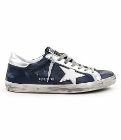 SHOES - SUPERSTAR SNEAKERS IN BRUSHED NAVY FT SILVER DETAILING