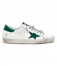 SHOES - SUPERSTAR SNEAKERS IN WHITE FT GREEN SUEDE DETAILING