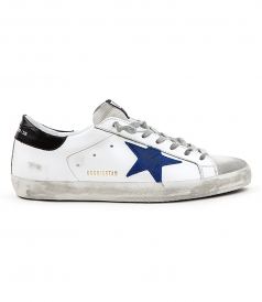 SUPERSTAR SNEAKERS IN WHITE FT BLUE & BLACK DETAILING