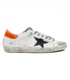 SHOES - SUPERSTAR SNEAKERS IN WHITE FT GREY & ORANGE DETAILING