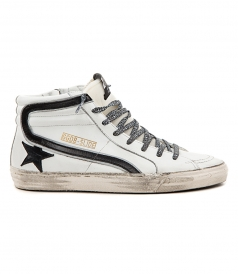 GOLDEN GOOSE DELUXE BRAND - SLIDE SNEAKERS IN WHITE FT BLACK DETAILING & LEOPARD LACES