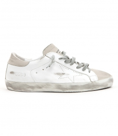 GOLDEN GOOSE DELUXE BRAND - SUPERSTAR SNEAKERS IN TOTAL WHITE FT DISTRESSED DETAILING