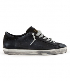 SHOES - SUPERSTAR SNEAKERS IN TOTAL BLACK FT DISTRESSED DETAILING