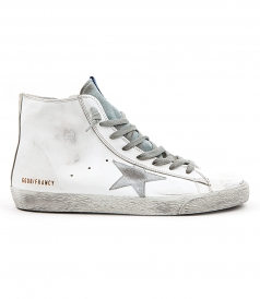 GOLDEN GOOSE DELUXE BRAND - FRANCY SNEAKERS IN WHITE FT SILVER DETAILING