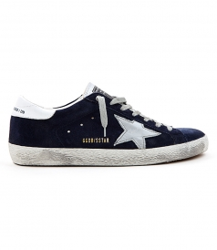 SUPERSTAR SNEAKERS IN BLUE SUEDE FT WHITE & SILVER DETAILING