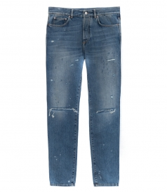JEANS - SLIM-FIT DESTROYED DENIM TROUSERS