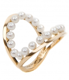 18KT GOLD IN BETWEEN RING FT NATURAL PEARLS