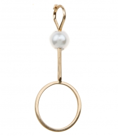 18KT BUBBLE EARRING FT NATURAL PEARL