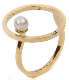 18KT BUBBLE RING FT NATURAL PEARL & DIAMOND