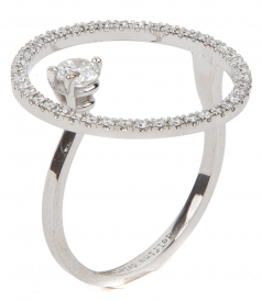 18KT WHITE GOLD BUBBLE RING FT DIAMONDS