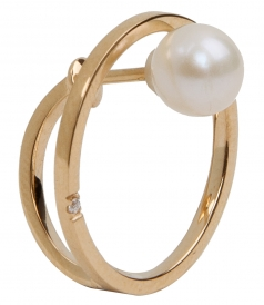 18KT GOLD BUBBLE EARING FT NATURAL PEARL