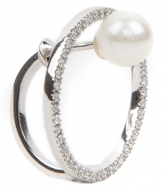 18KT WHITE GOLD BUBBLE EARING FT NATURAL PEARL & DIAMONDS