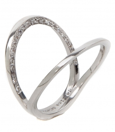 IN BETWEEN 18KT WHITE GOLD RING FT DIAMONDS