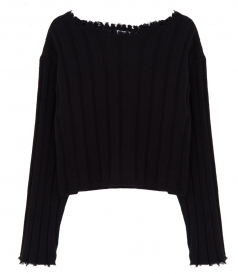 CLOTHES - RAW EDGE OFF SHOULDER SWEATER