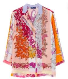 FRINGED FLORAL PRINTED SHIRT
