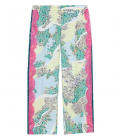 SALES - FLORAL LACE DETAILING CROPPED TROUSERS
