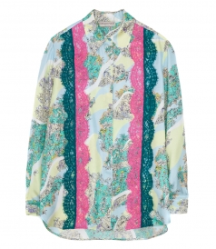 CLOTHES - LACE INSERTS FLORAL PRINT SHIRT