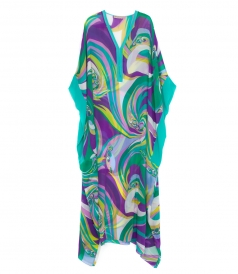 LONG SLEEVE MULTICOLORED SILK PRINTED KAFTAN