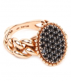 RING WITH INTERLOCK CHAIN & BLACK DIAMONDS