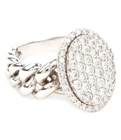 RING WITH INTERLOCK CHAIN & WHITE DIAMONDS