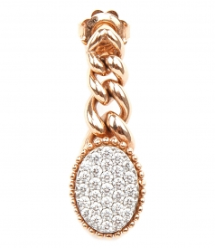 EARRING WITH HANGING INTERLOCK CHAIN & WHITE DIAMONDS