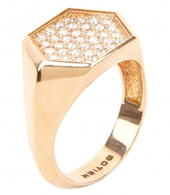 HEXAGON SHAPED SIGNET RING & WHITE DIAMONDS