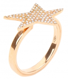 ROUND RING SET WITH STAR SHAPE IN WHITE DIAMONDS