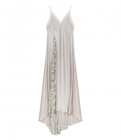 CLOTHES - LONG TRAIL SILK SLIPDRESS FT FLORAL DETAILING