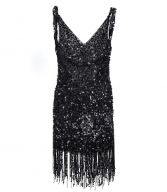 BLACK SEQUINED MINI DRESS FT FRINGE DETAILING